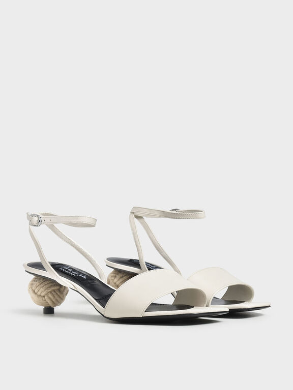 Spherical Heel Leather Sandals, White