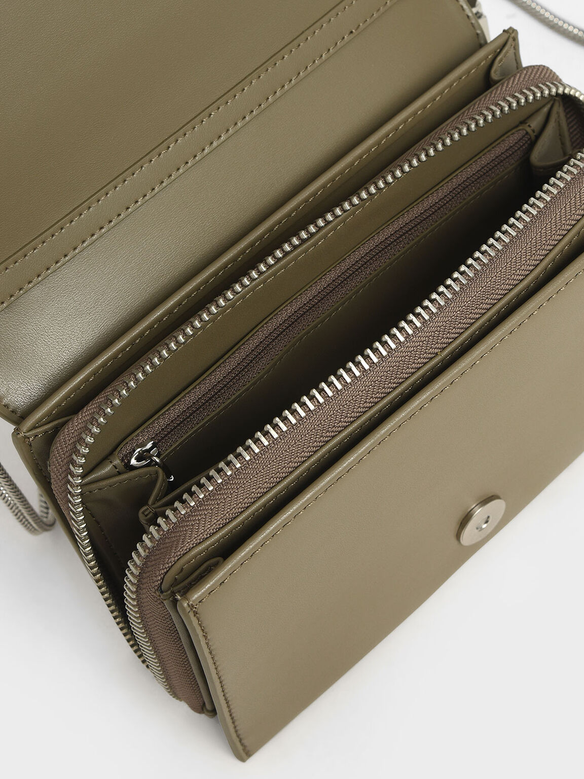 Metallic Edge Crossbody Bag, Grey, hi-res