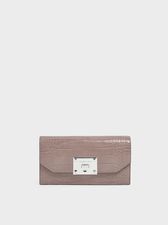 Croc-Effect Push Lock Flap Wallet, Mauve, hi-res