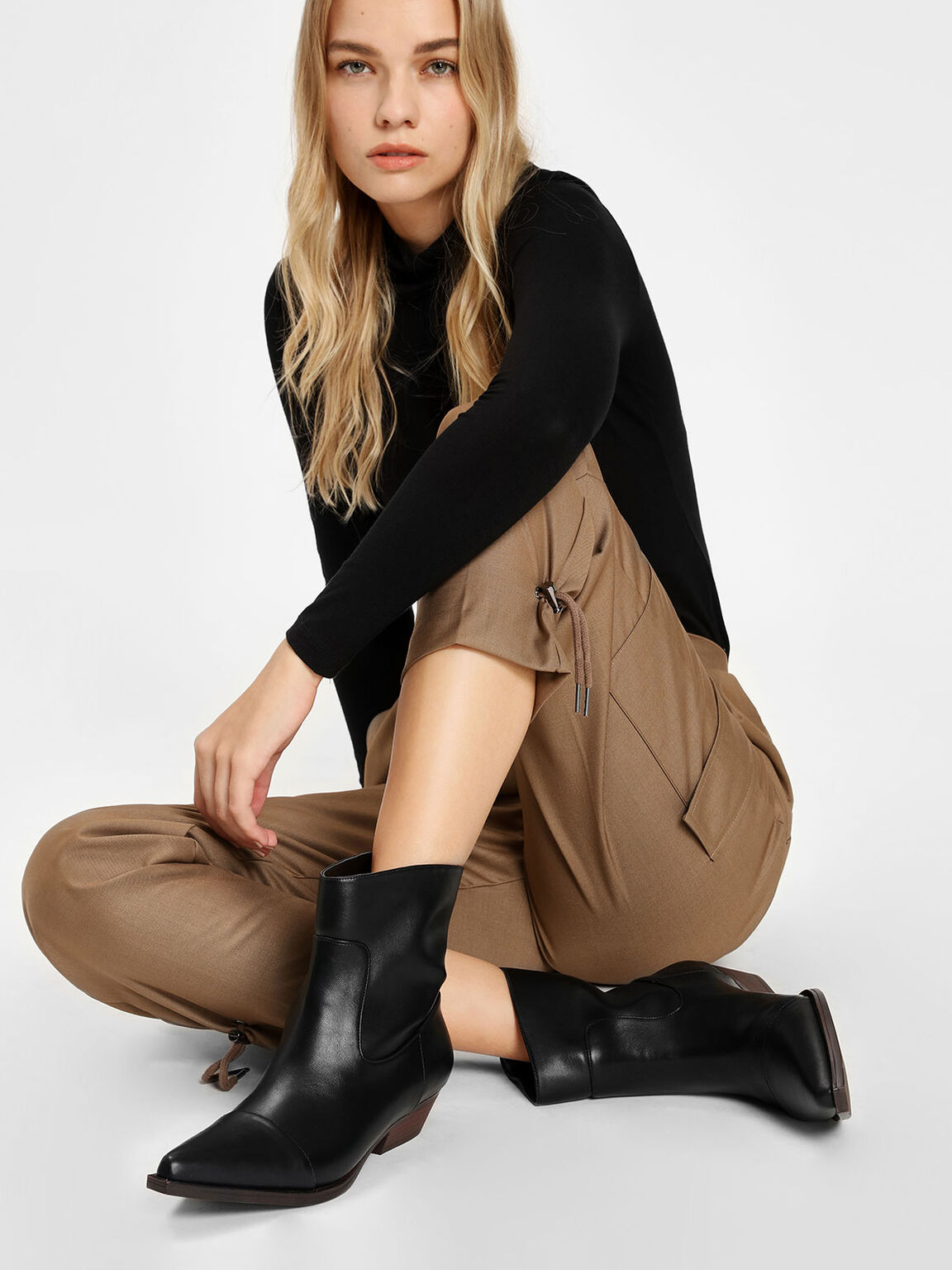 Pointed Calf Boots, Black, hi-res