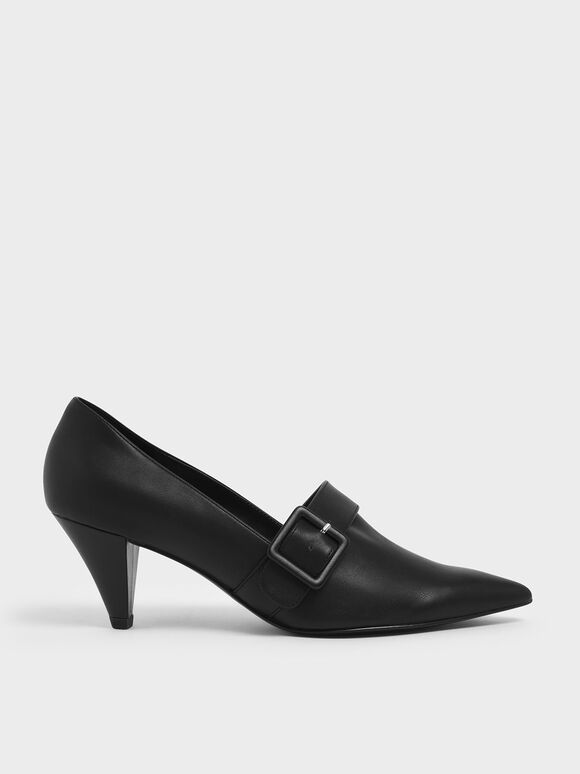 Buckle Strap Cone Heel Pumps, Black, hi-res