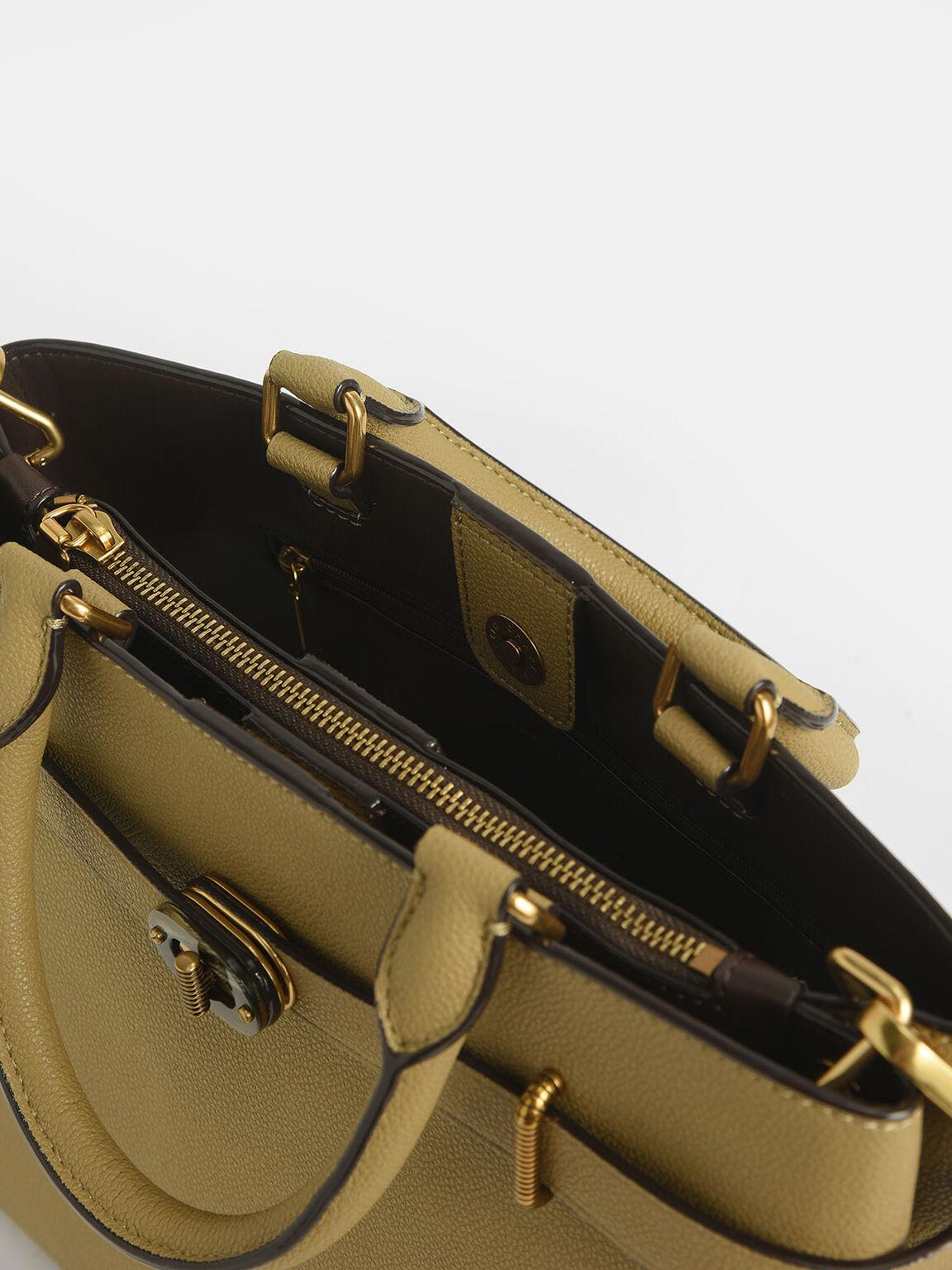 Large Turn-Lock Tote Bag, Khaki, hi-res