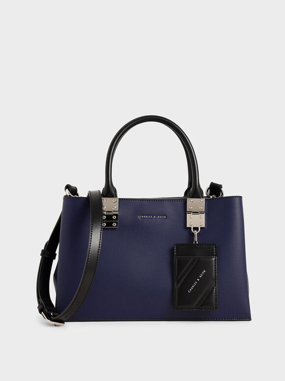 Double Top Handle Structured Bag, Dark Blue, hi-res