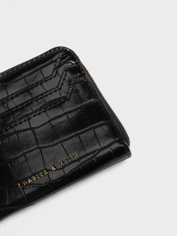 Croc-Effect Half Zip Pouch, Black