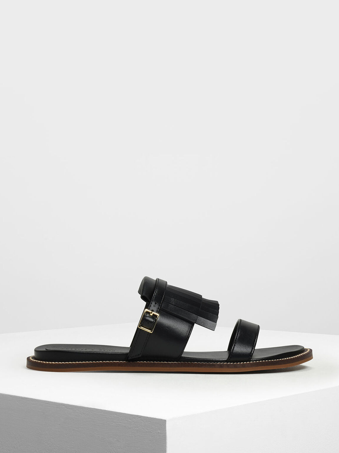 Fringe Trim Sliders, Black, hi-res