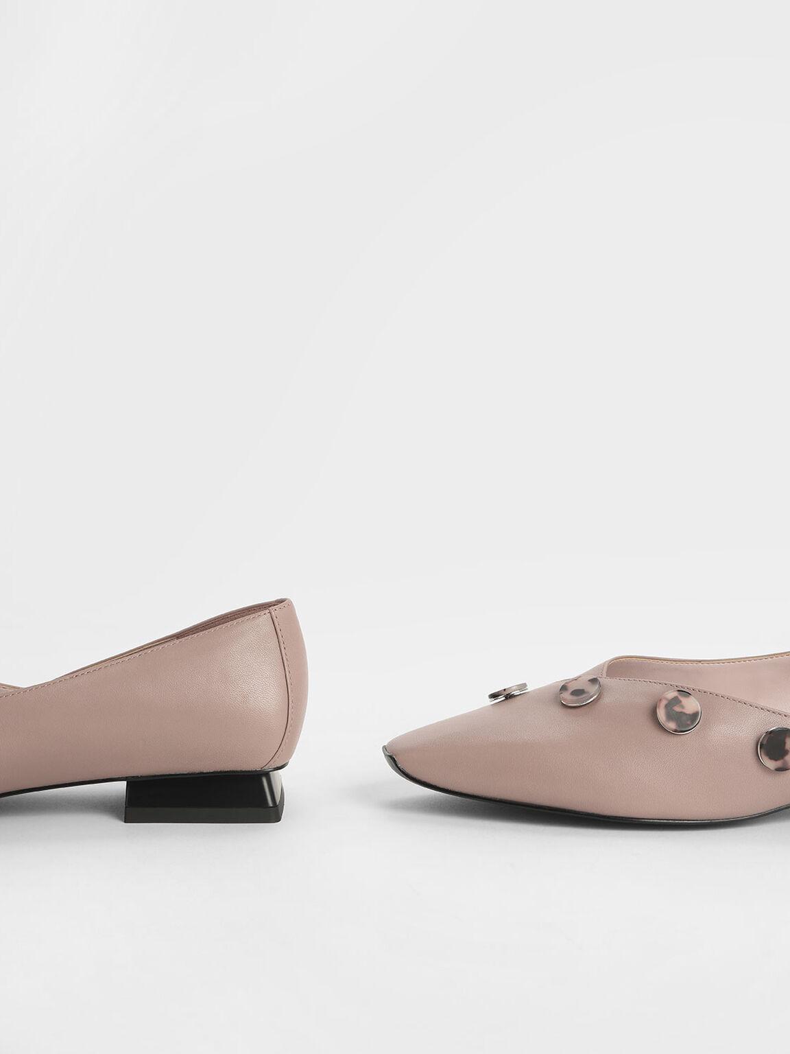Tortoiseshell Button Detail Leather Flats, Mauve, hi-res