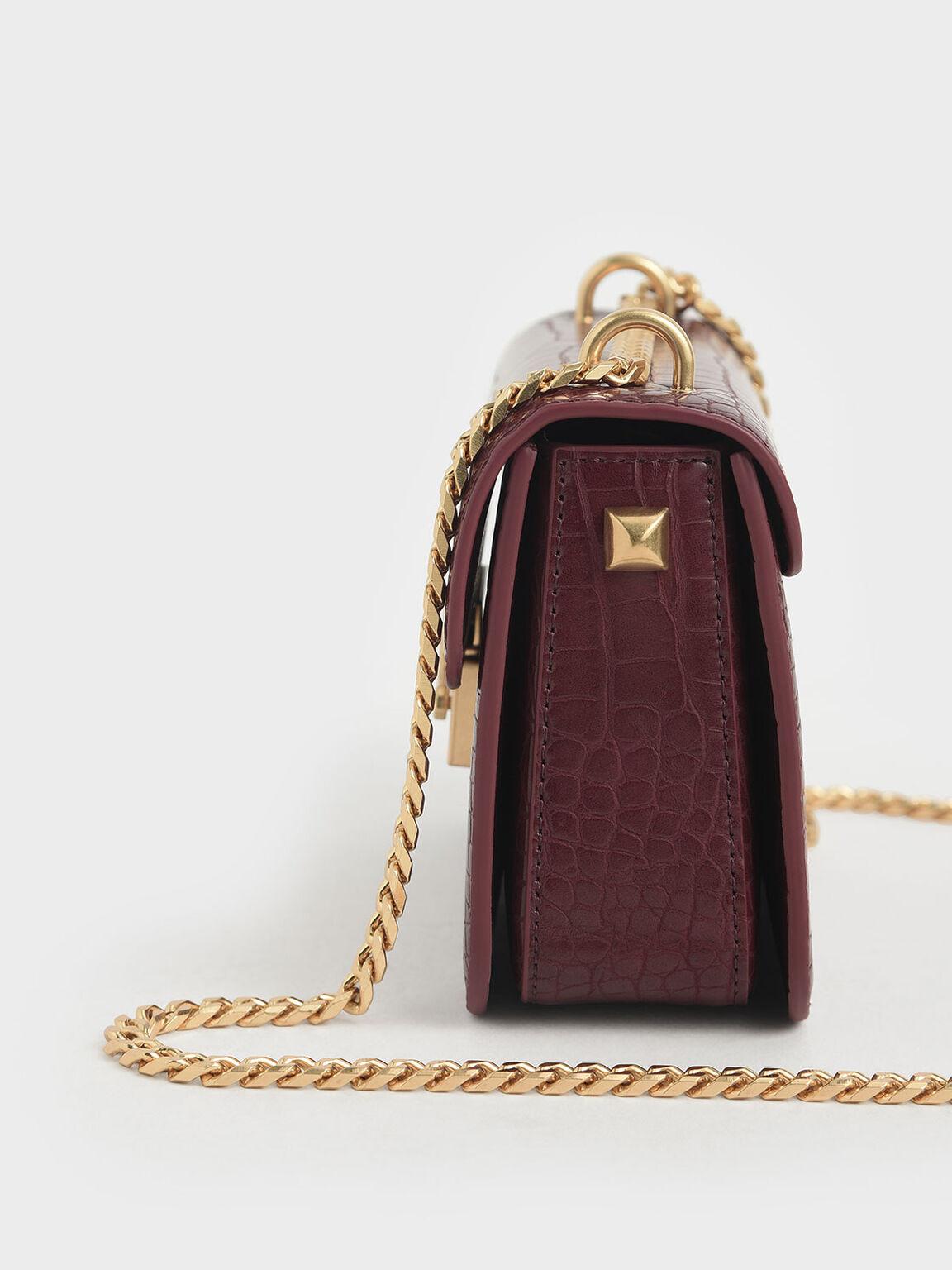 鱷魚紋鍊條包, 酒紅色, hi-res