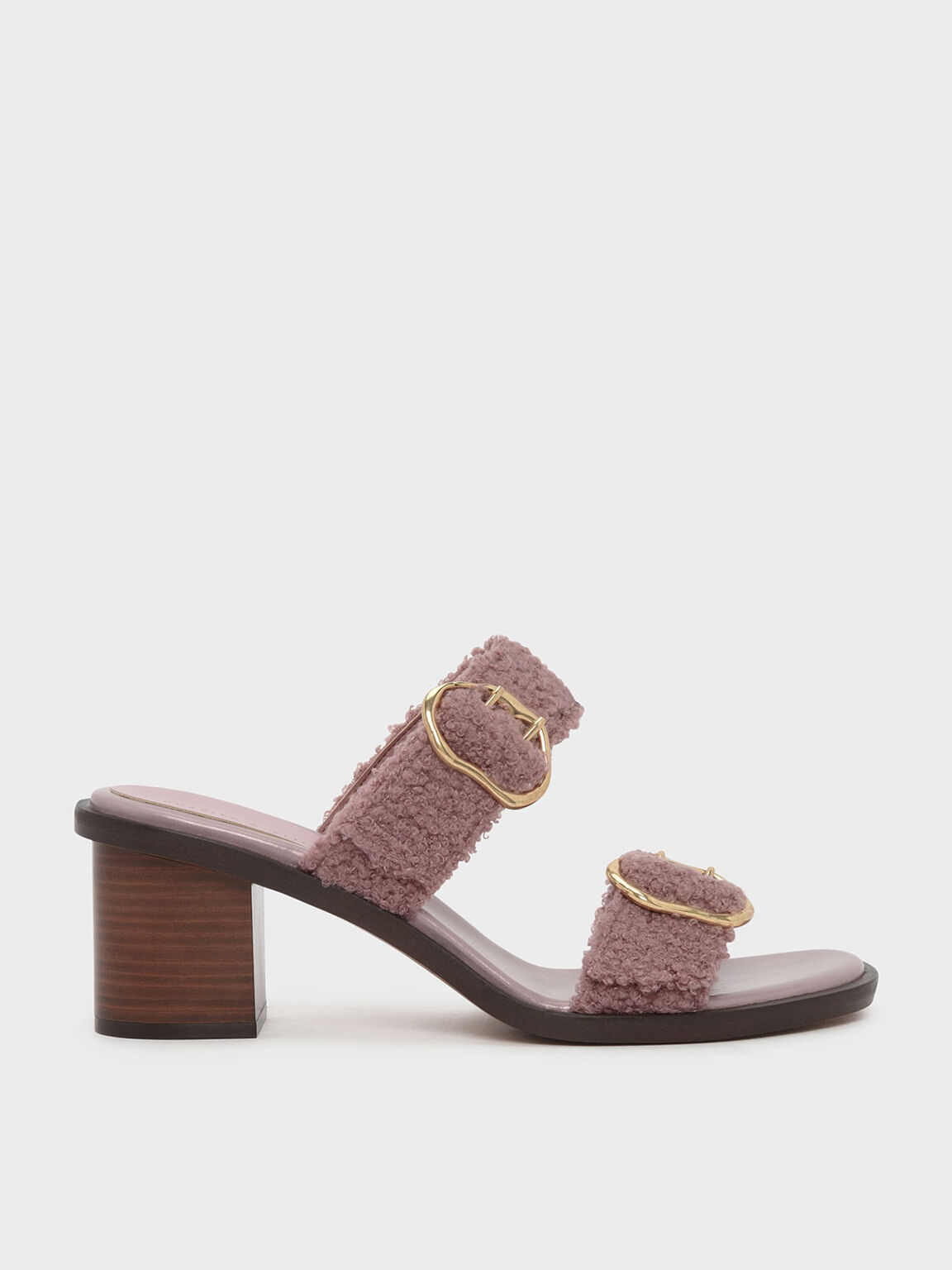 Double Strap Heeled Slip-Ons, Pink, hi-res