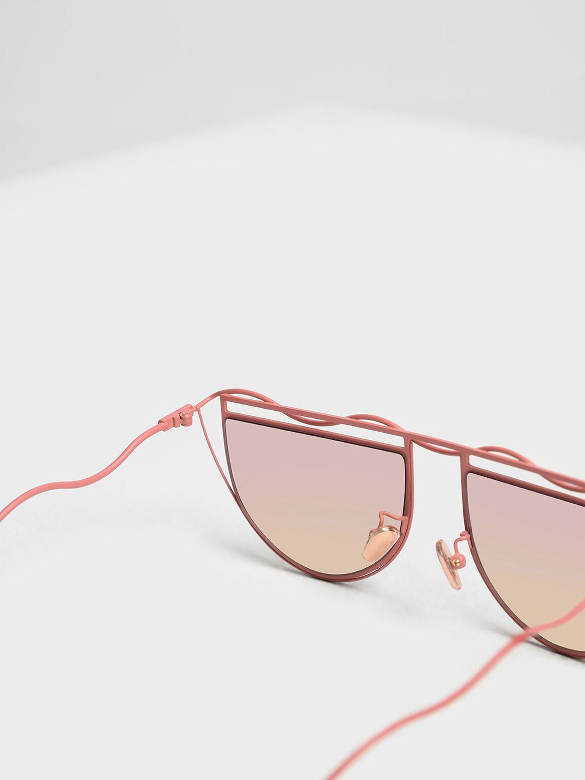 Drop Temple Semi-Circle Sunglasses, Pink, hi-res