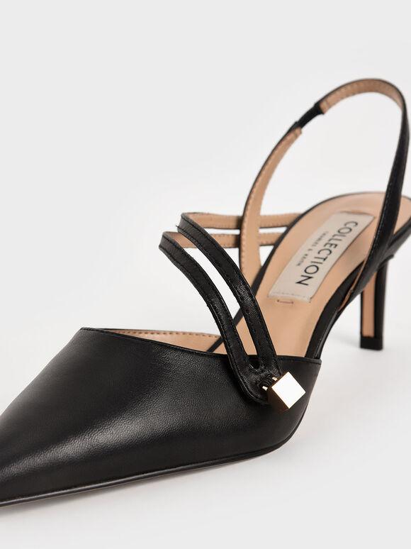 真皮纏繞帶細跟鞋, 黑色, hi-res