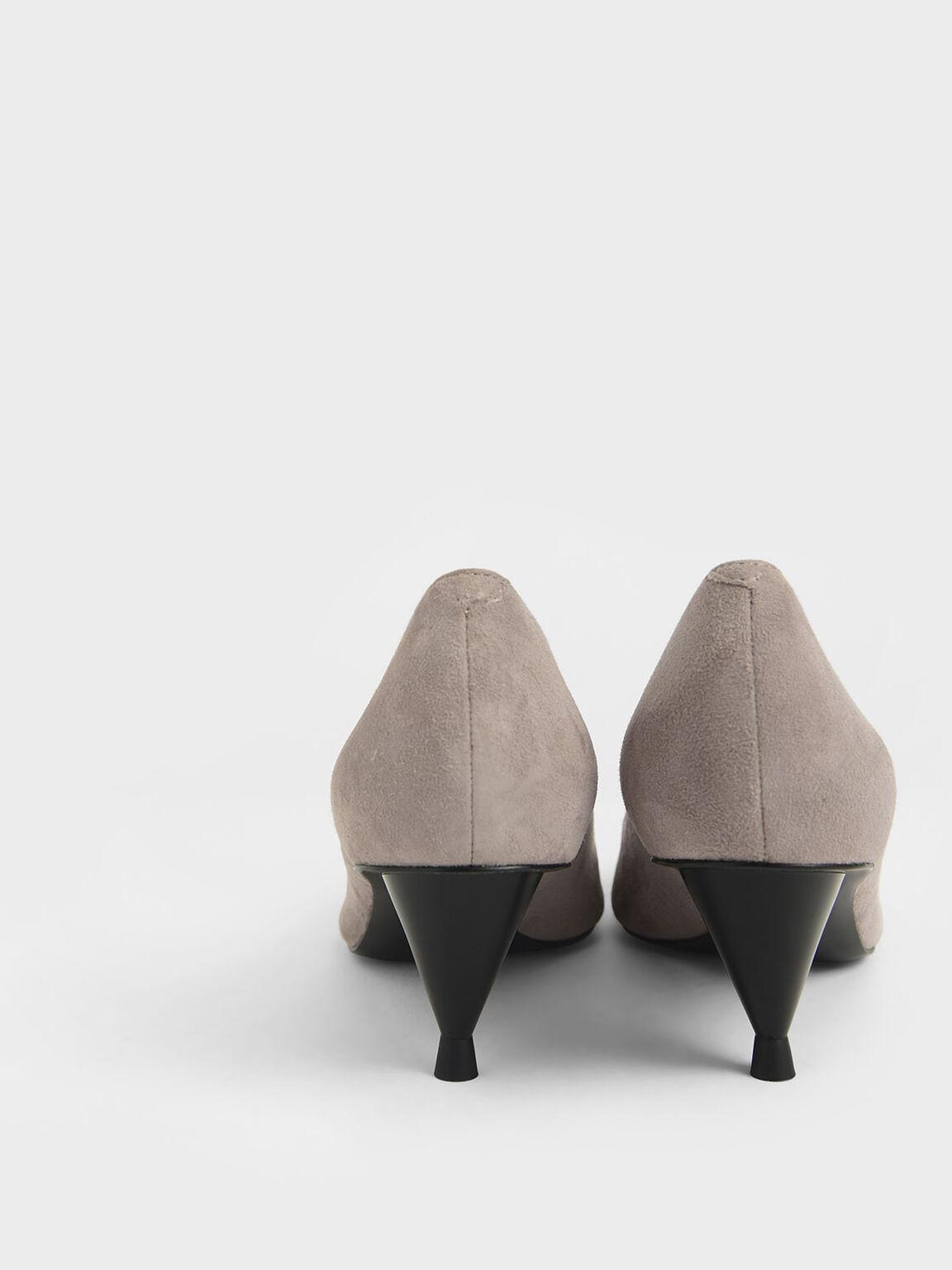 Cone Heel Pumps (Kid Suede), Grey, hi-res