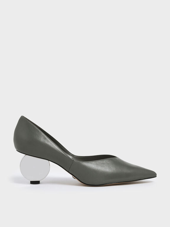 V-Cut Sculptural Heel Leather Pumps, Sage Green