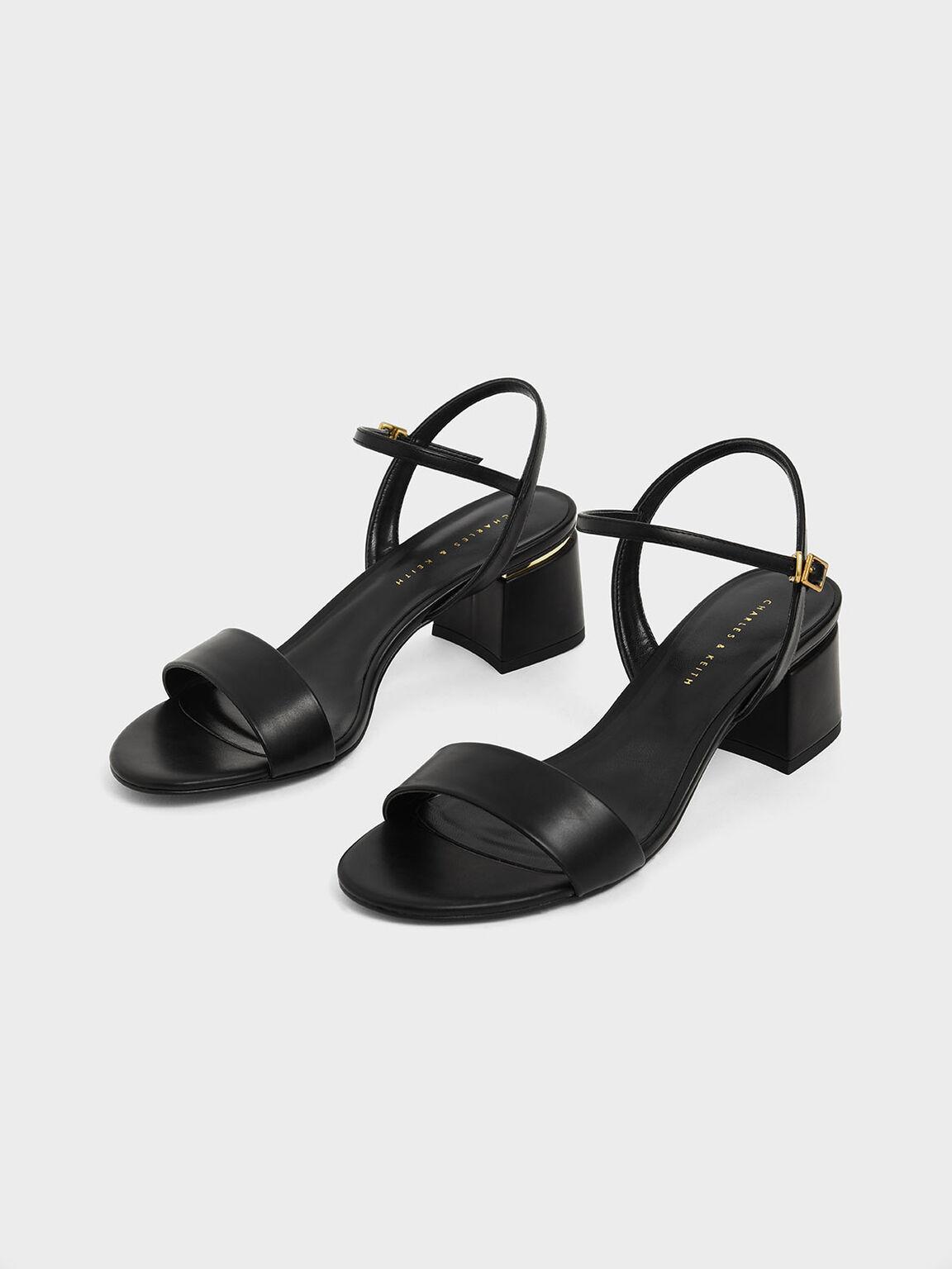 Open Toe Ankle Strap Block Heel Sandals, Black, hi-res