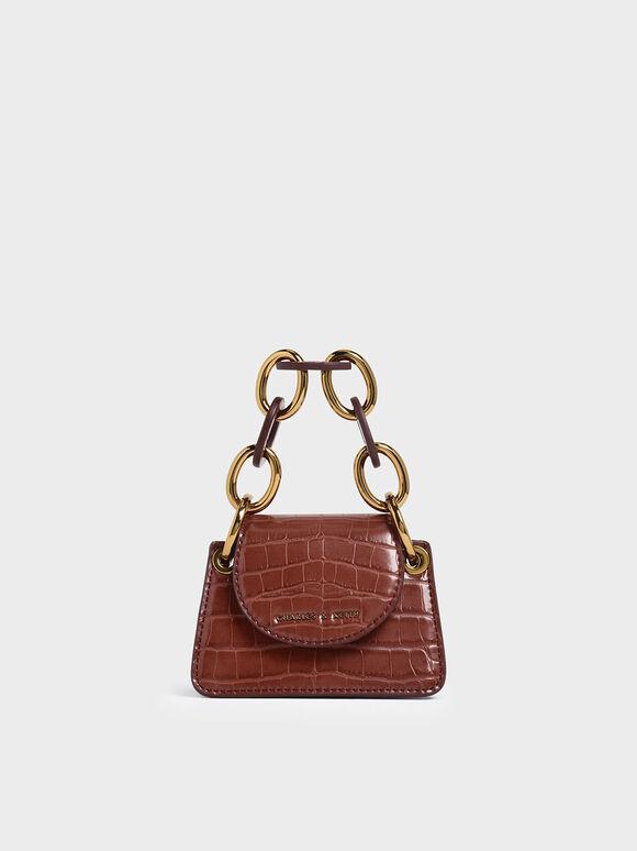 Croc-Effect Chunky Chain Handle Mini Bag, Burgundy, hi-res