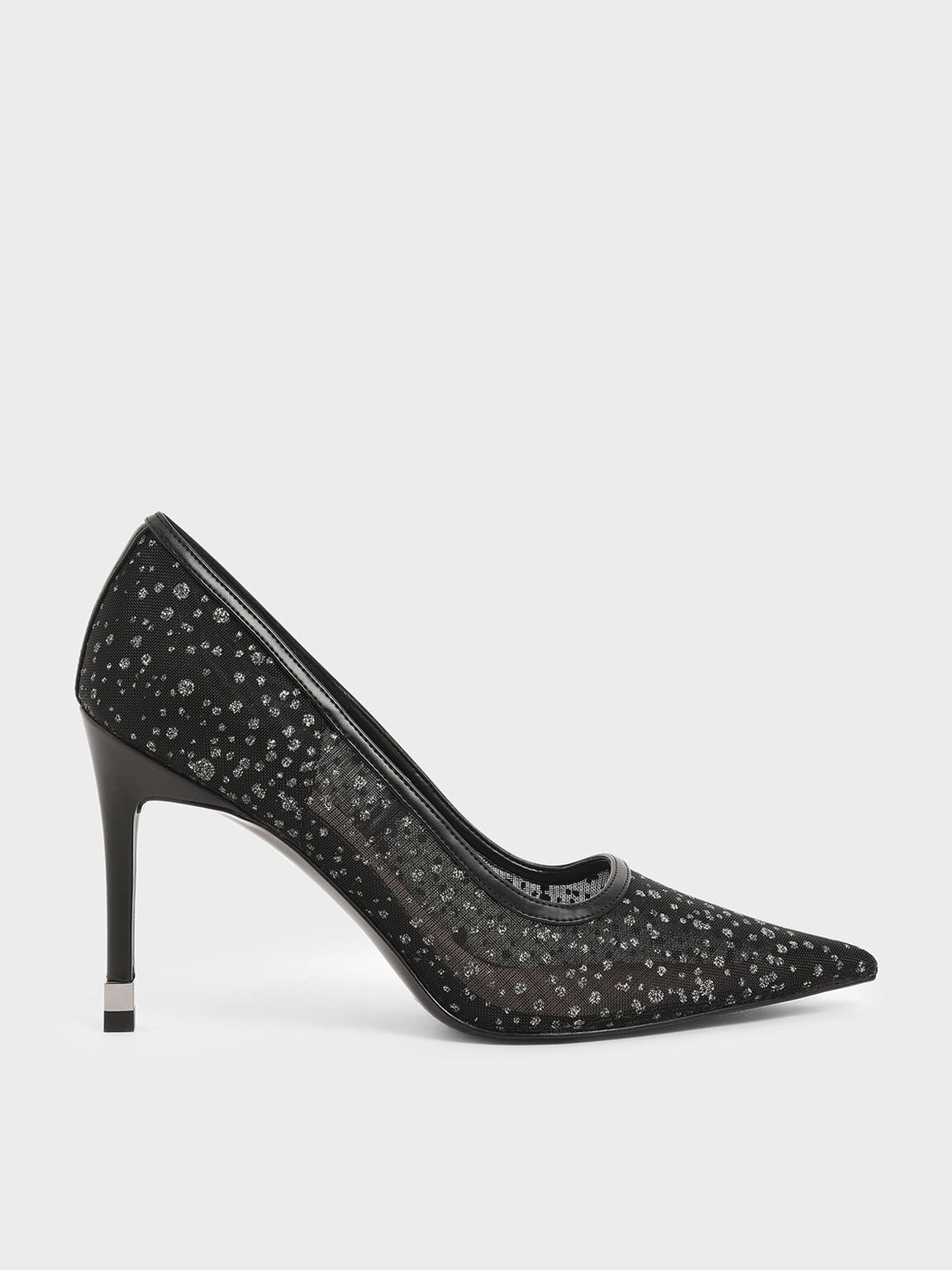 Mesh Stiletto Pumps, Black Textured, hi-res