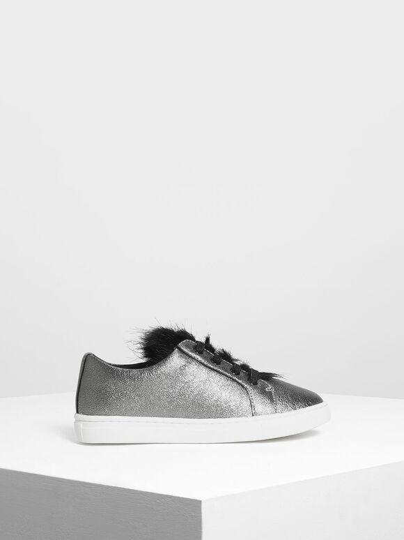 兒童金屬感球鞋, 金灰色, hi-res