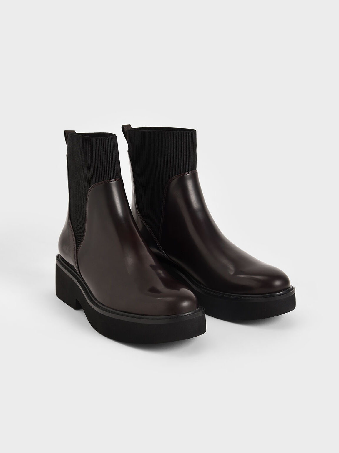 Ankle Sock Boots, Burgundy, hi-res