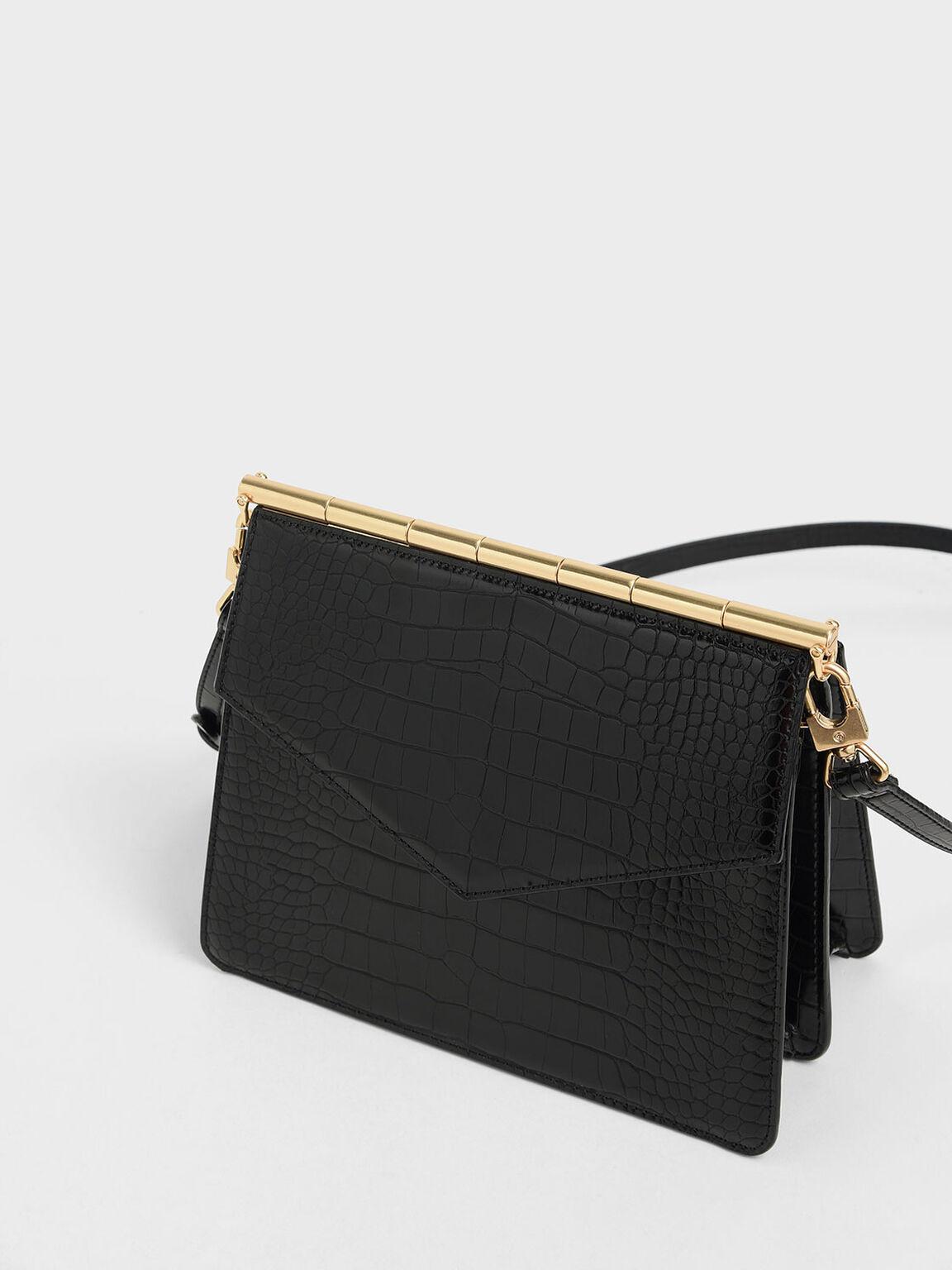 Croc-Effect Angular Crossbody Bag, Black, hi-res
