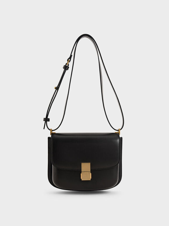 Metallic Push-Lock Shoulder Bag, Black, hi-res