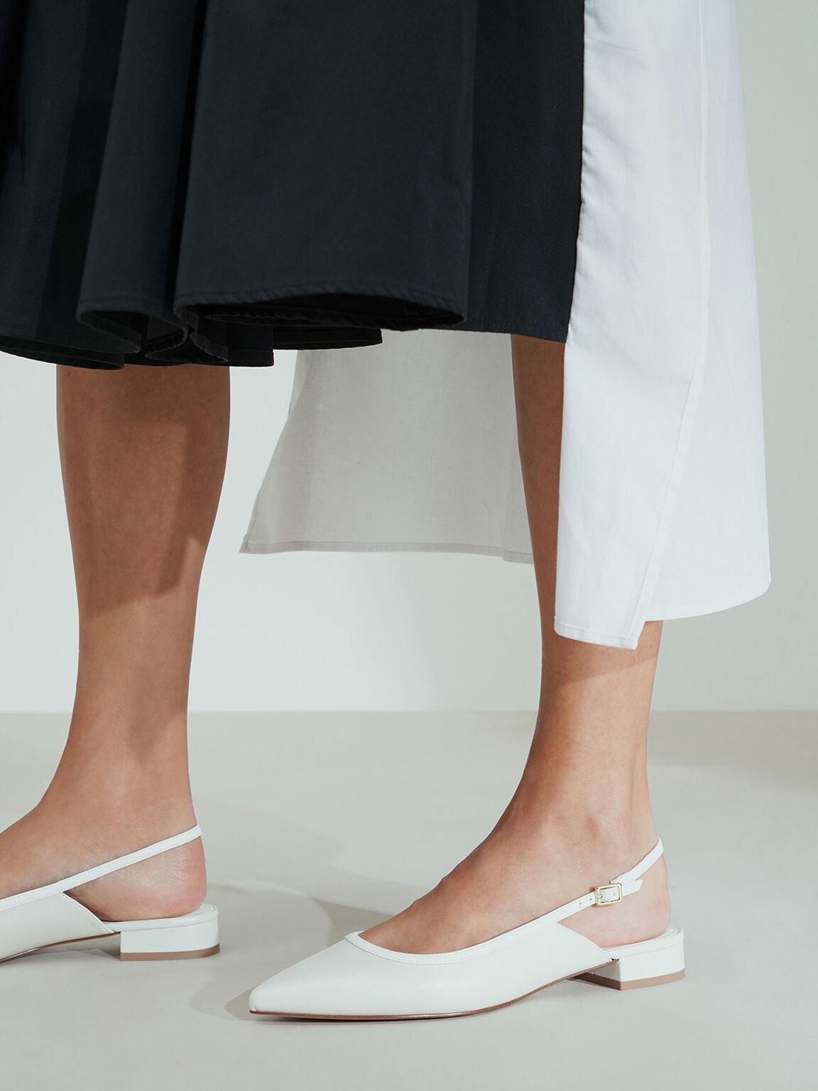 後繞帶尖頭鞋, 石灰白, hi-res