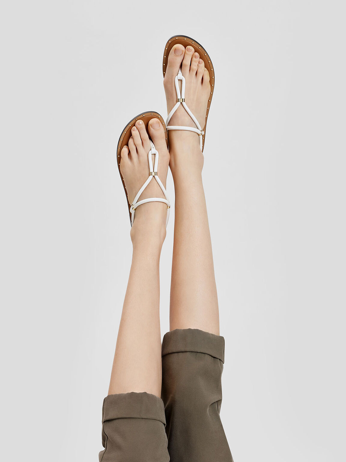Gold Accents Thong Sandals, White, hi-res