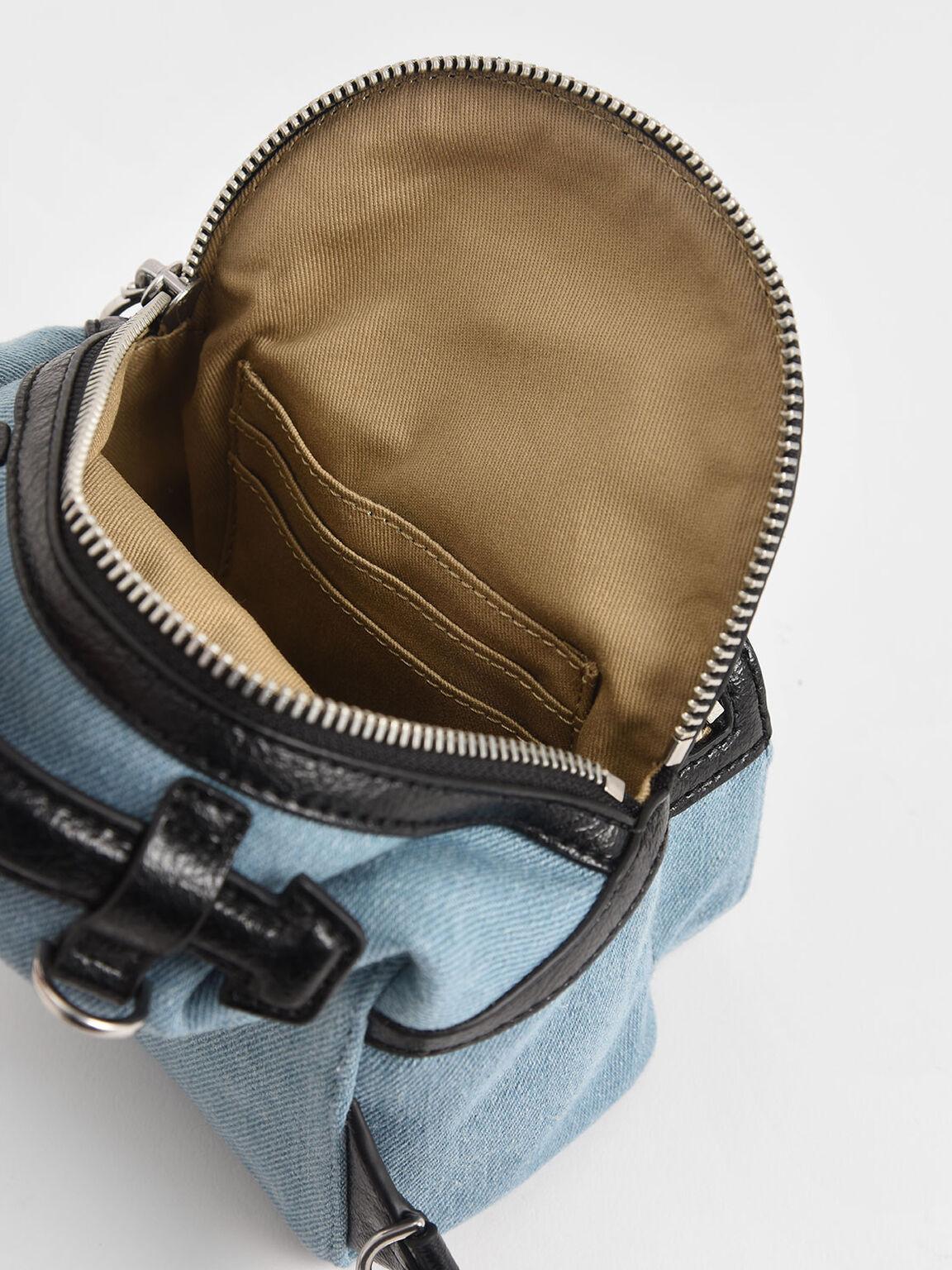 小型拉鍊後背包, 丹寧藍, hi-res