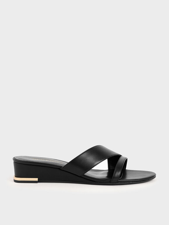 Strappy Wedges, Black, hi-res