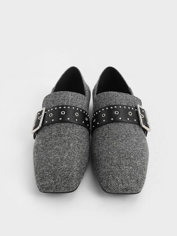Woven Grommet Buckle Step-Back Loafers, Dark Grey, hi-res