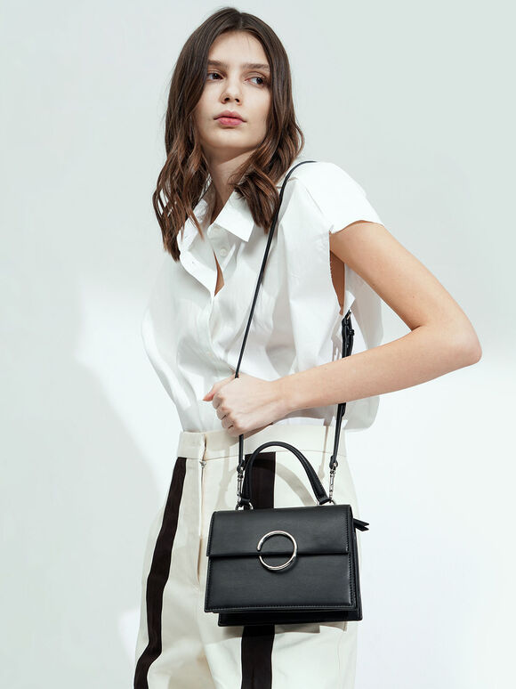 Ring Detail Top Handle Bag, Black, hi-res
