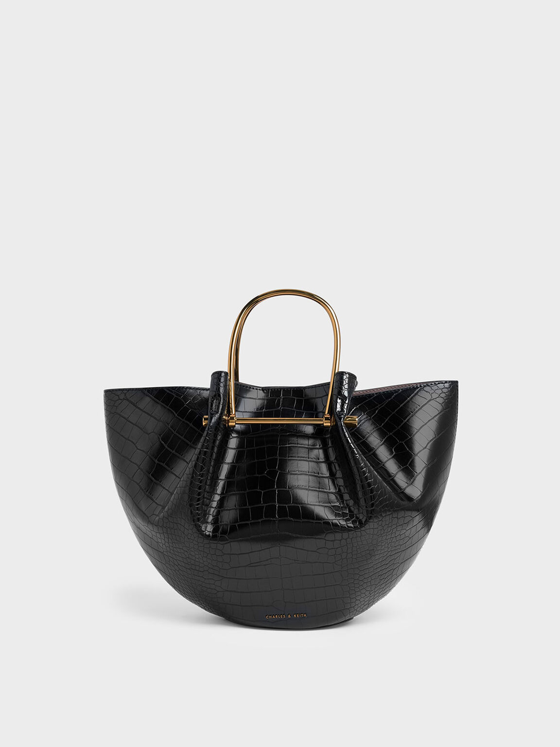 Croc-Effect Petal Fold Tote Bag, Black, hi-res