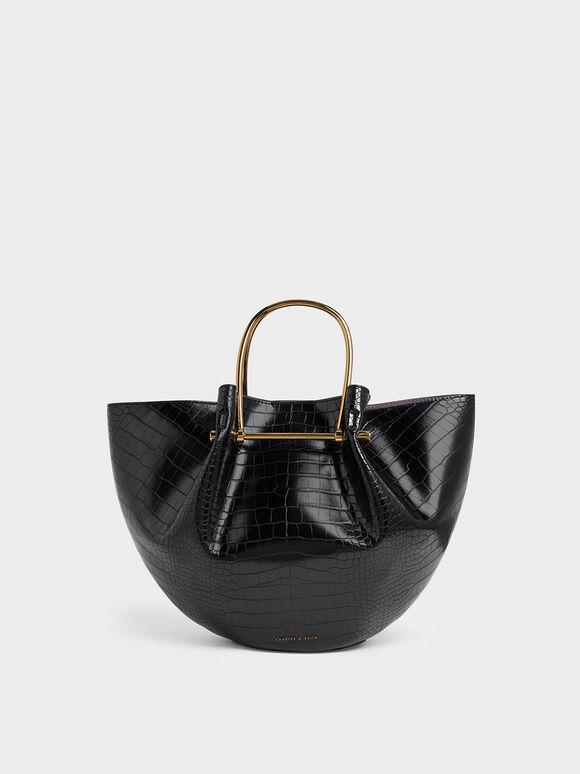 Croc-Effect Petal Fold Tote Bag, Black, hi-res