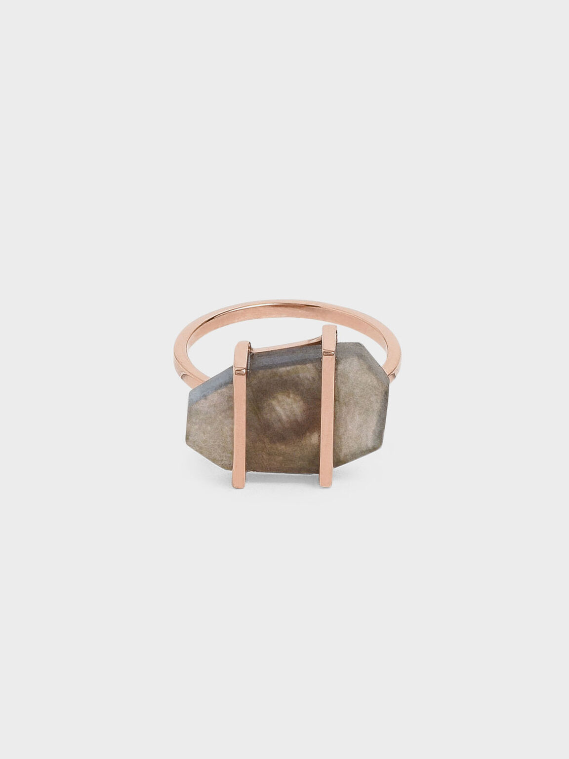 Labradorite Stone Ring, Rose Gold, hi-res