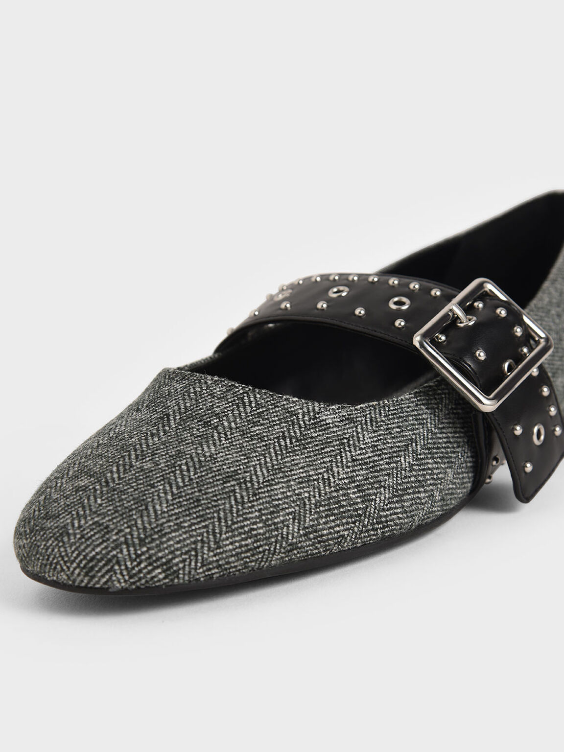 Woven Studded Mary Jane Flats, Dark Grey, hi-res
