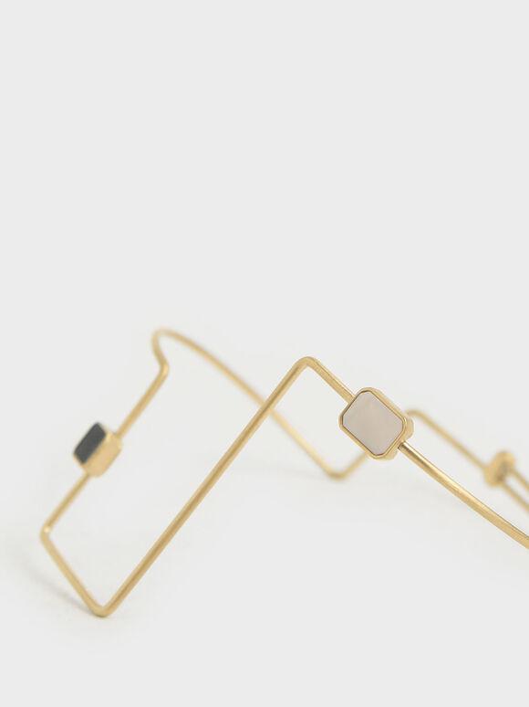Mother Of Pearl Sculptural Cuff Bracelet, Gold, hi-res