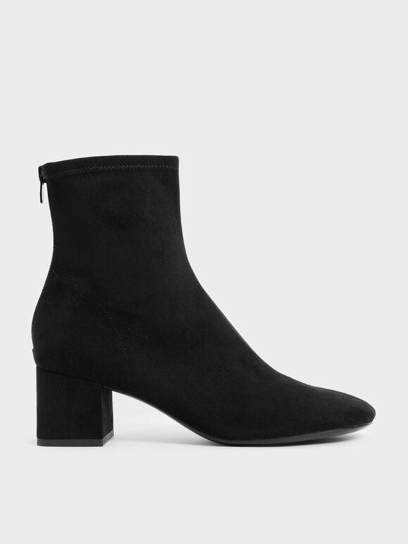仿麂皮粗跟短靴, 黑色特別款, hi-res