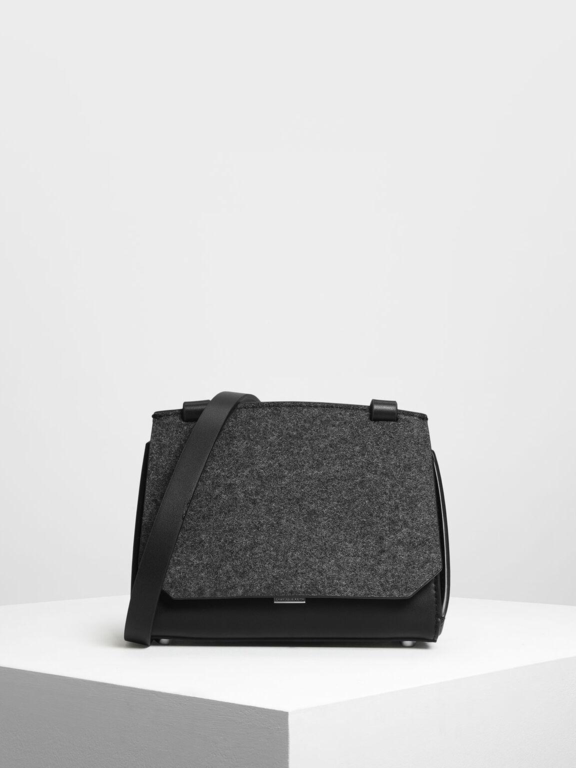 Front Flap Crossbody Bag, Black, hi-res