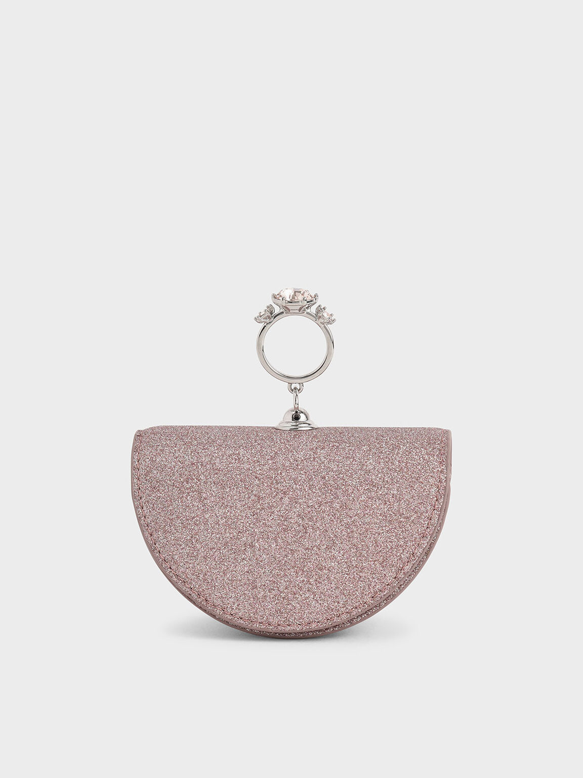 Embellished Glittered Semi-Circle Pouch, Rose Gold, hi-res