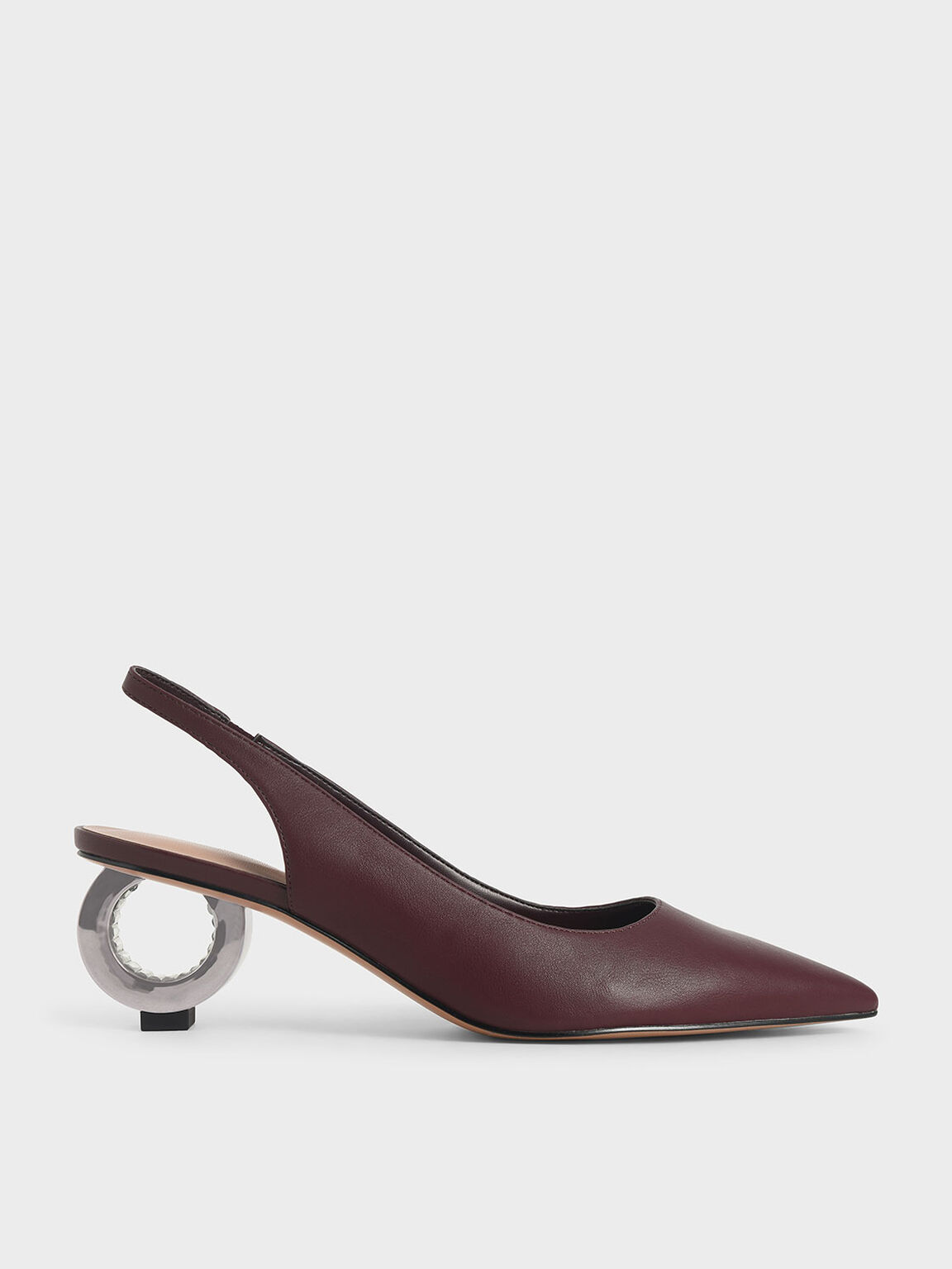 Sculptural Chrome Heel Slingback Pumps, Prune, hi-res