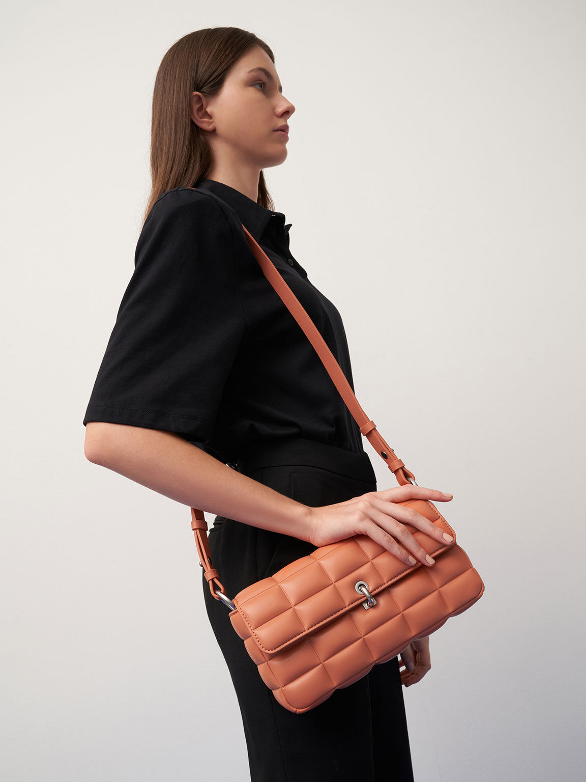 鋪棉方格鍊條包, 橘色, hi-res