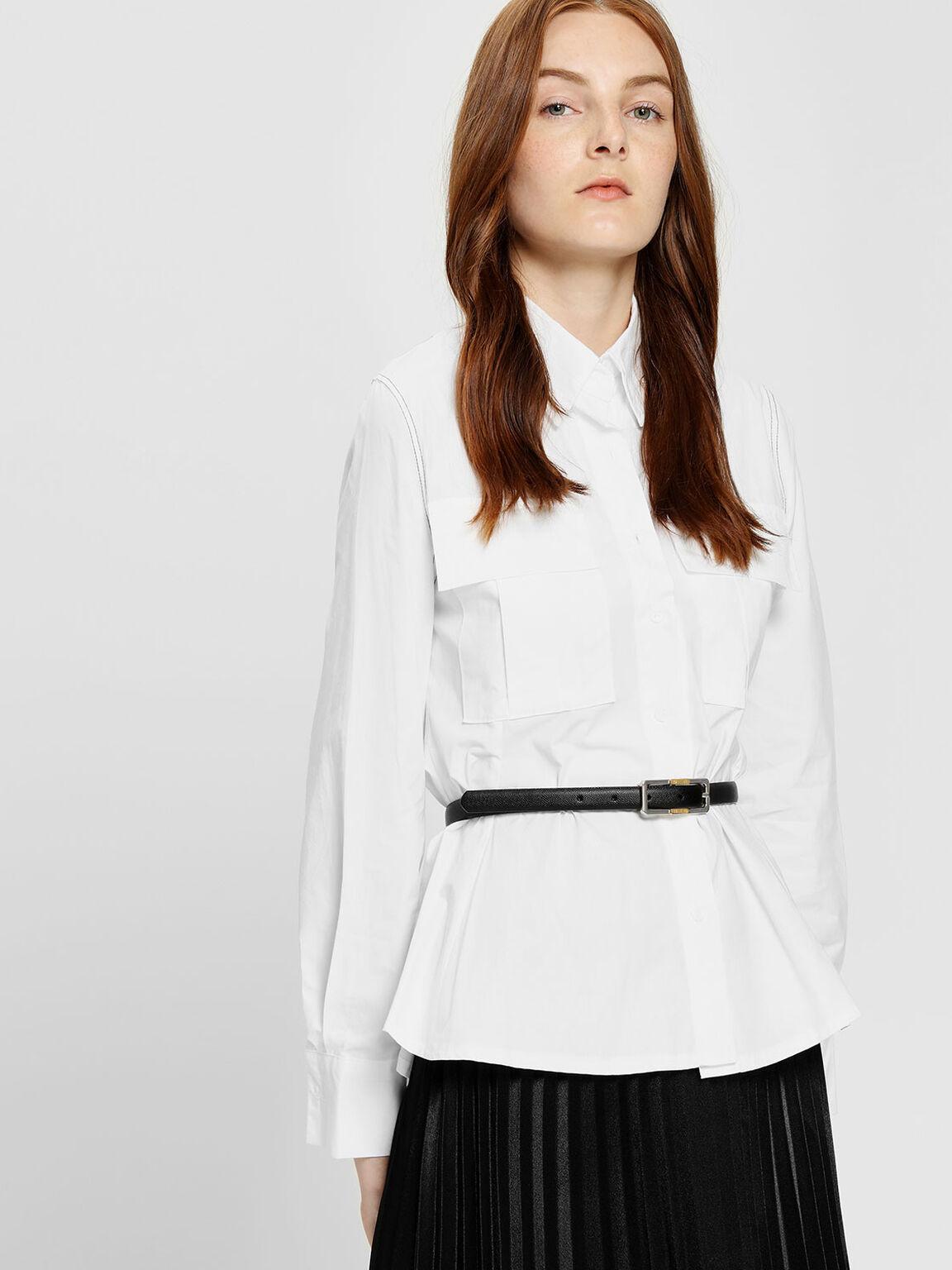 Reversible Thin Belt, Black, hi-res