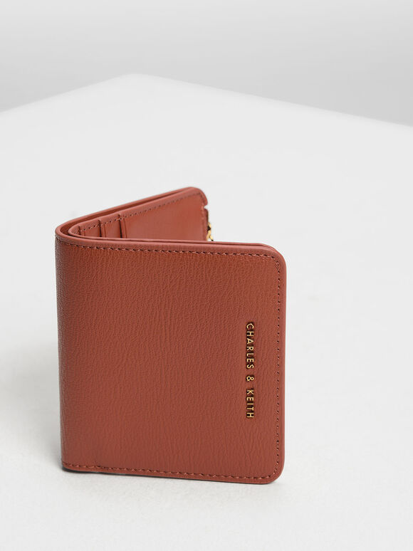 Classic Snap Button Card Holder, Clay, hi-res