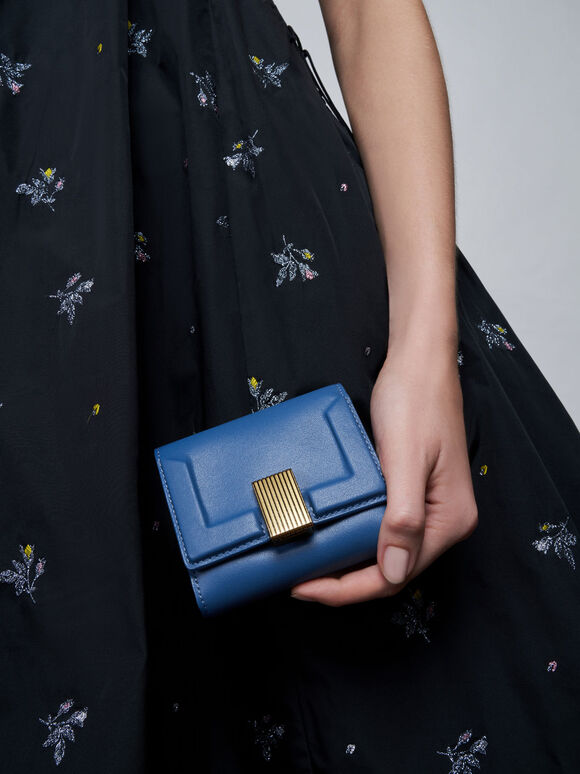 Metallic Turn-Lock Short Wallet, Blue, hi-res