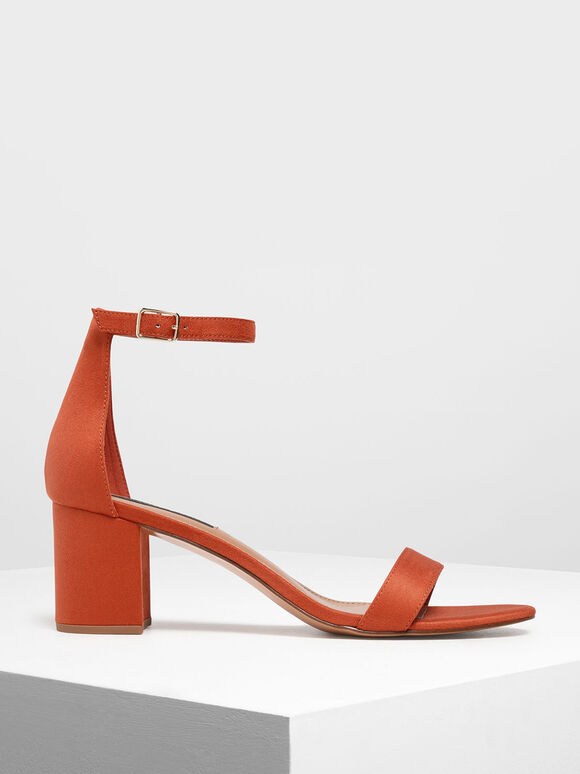 Block Heel Ankle Strap Sandals, Brick, hi-res