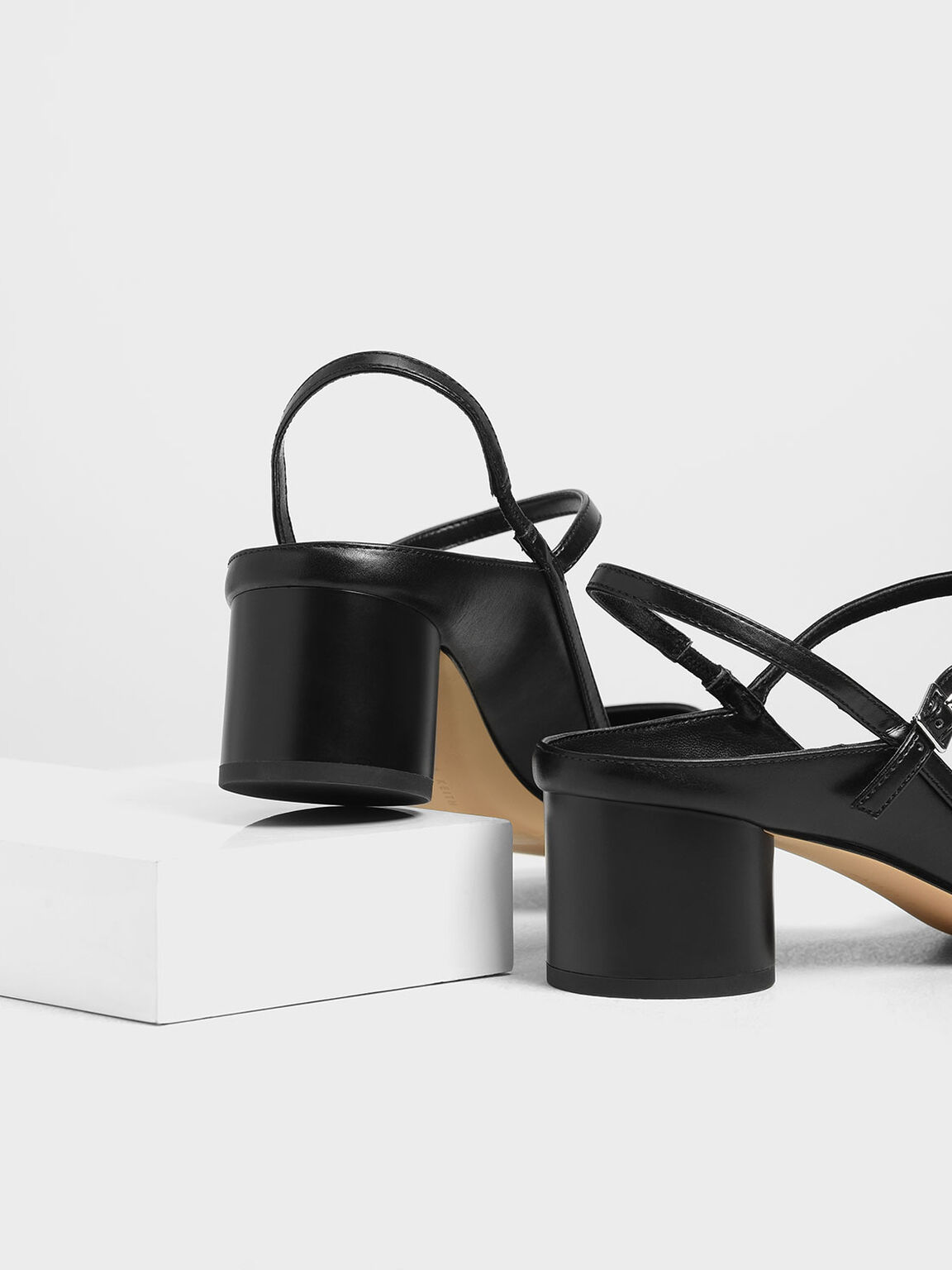 Circular Block Heel Slingbacks, Black, hi-res