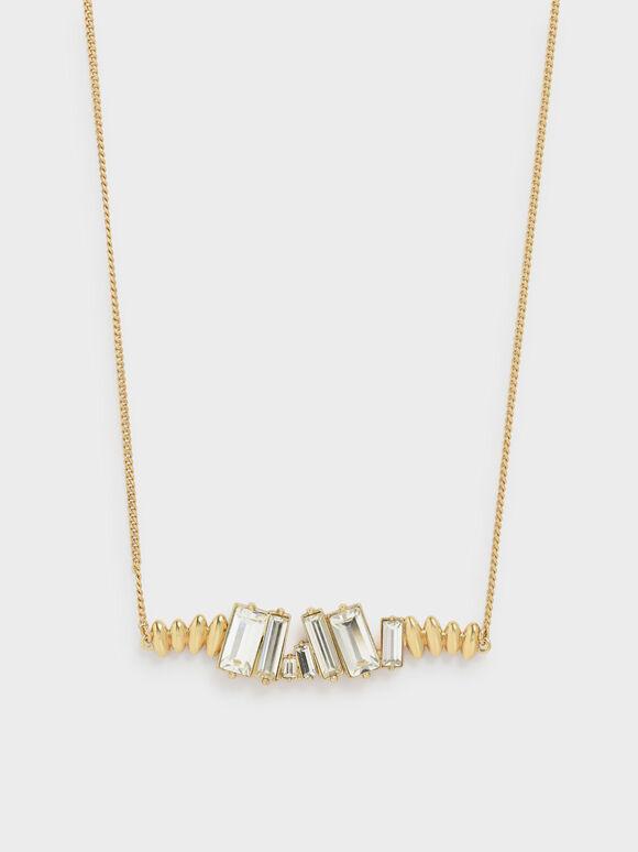 Swarovski® Crystal Embellished Matinee Necklace, Gold, hi-res