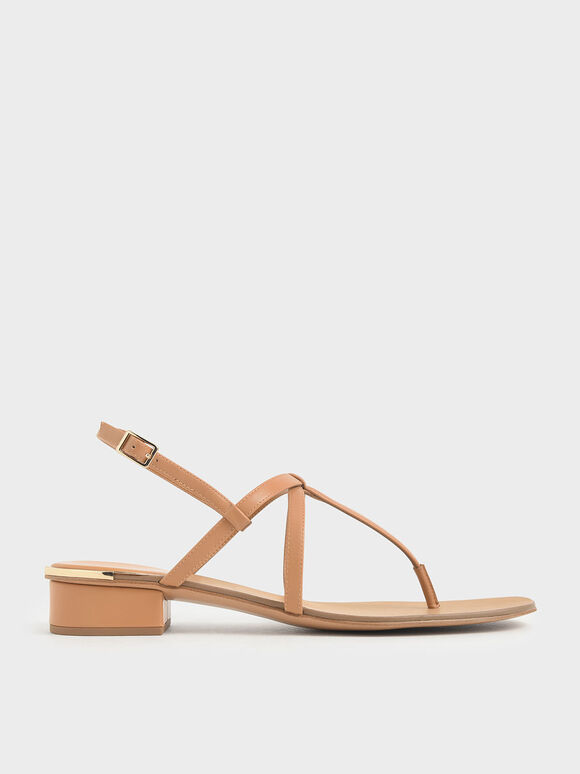 Strappy T-Bar Sandals, Orange, hi-res