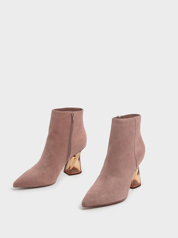Sculptural Lucite Heel Boots, Nude, hi-res