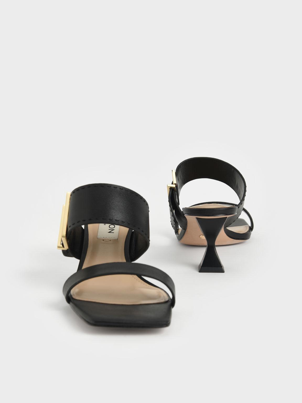 Leather Metallic Buckle Spool Heel Mules, Black, hi-res