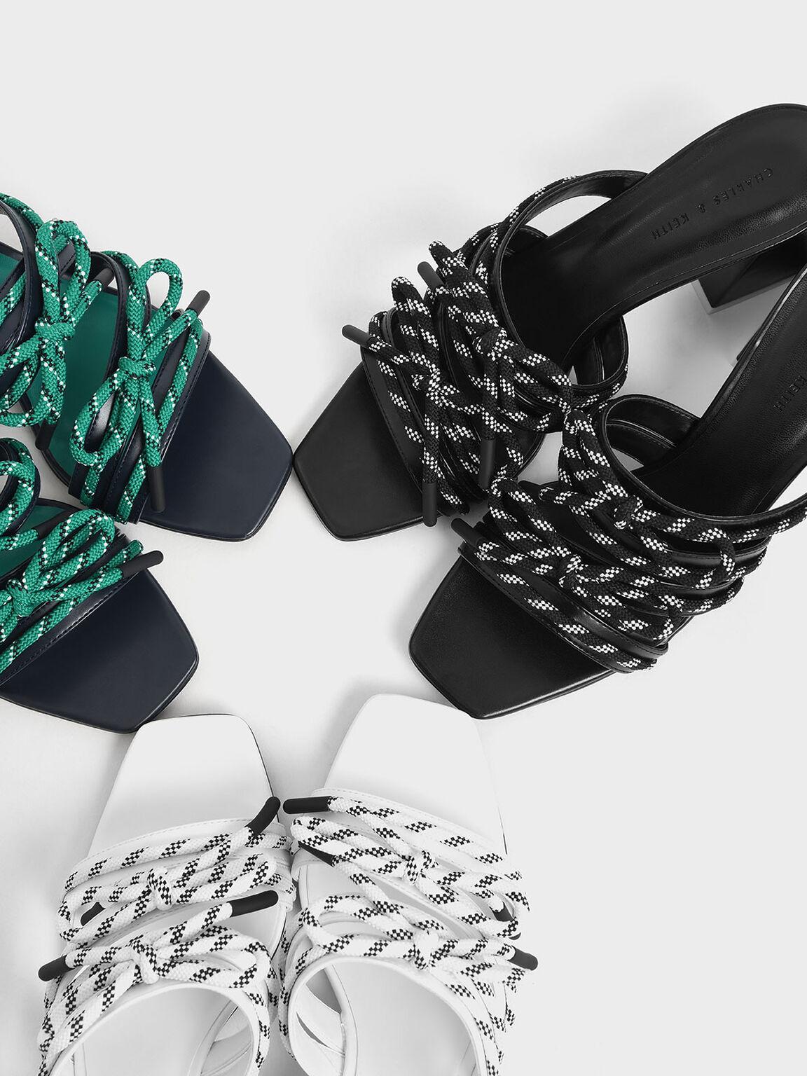 Nylon Lace Strap Slide Sandals, Black, hi-res