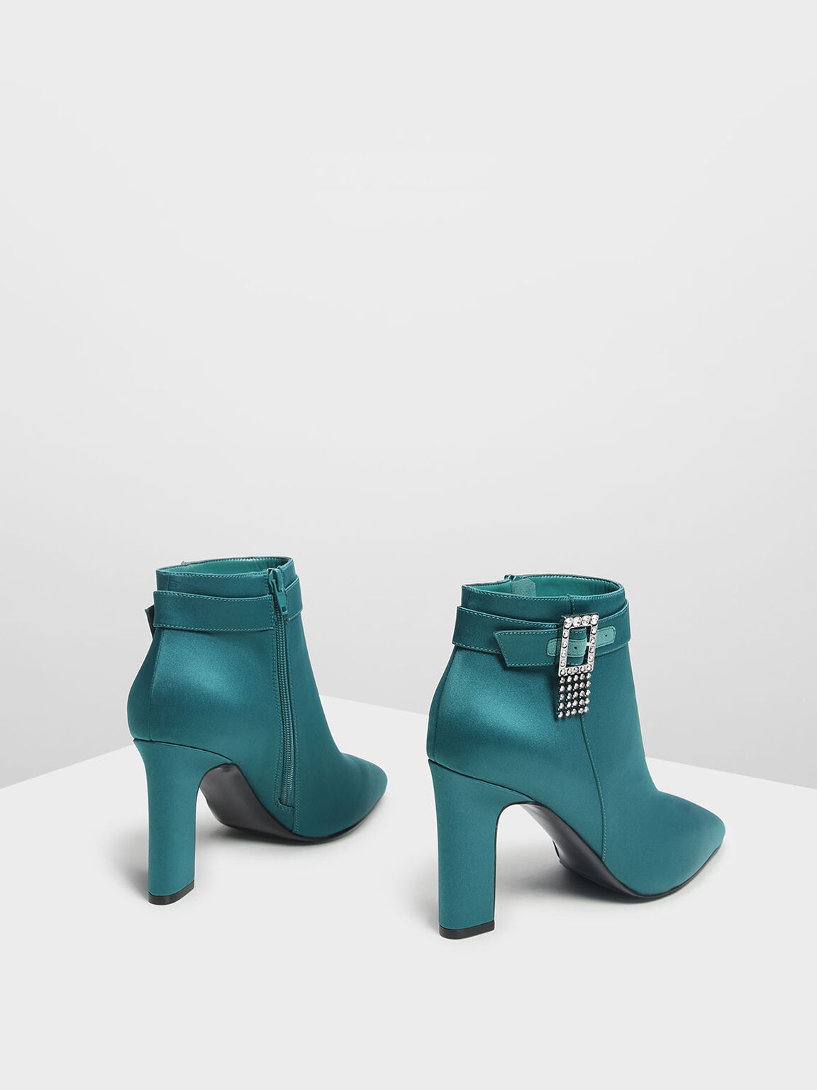 Embellished Buckle Ankle Boots, Green, hi-res